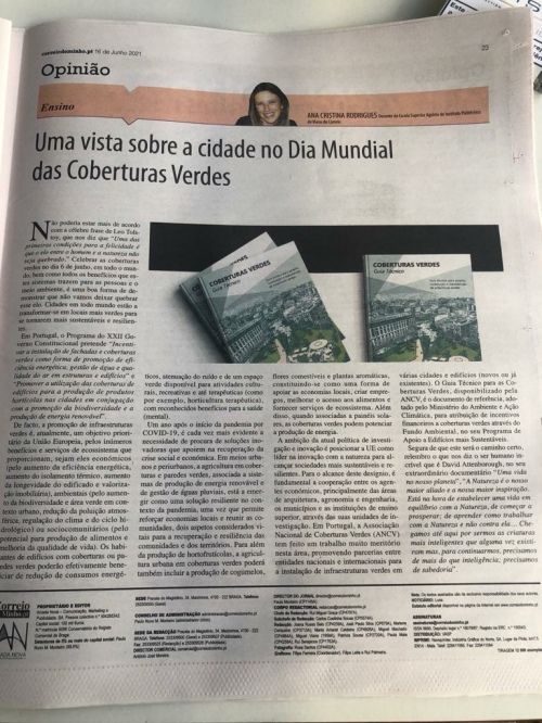 """""""A VIEW OF THE CITIES ON WORLD GREEN COVERS DAY"""" - CORREIO DO MINHO"""