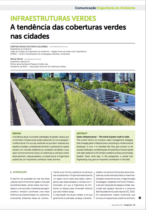 Artigo sobre Coberturas Verdes na revista INGENIUM da Ordem dos Engenheiros